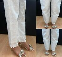 Ladies Trousers Full Embroidery Pakistani Indian Capri Pencil Cotton Salwar