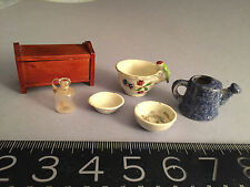 ANTIQUE/VINTAGE doll/dollhouse miniature porcelain watering can, wood chest,MORE