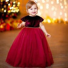 Christmas Princess Kids Baby Girl Long Dress Velvet Tutu Dress Gown Formal Dress