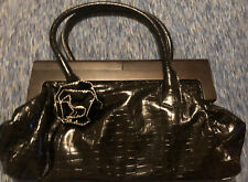 ESBEDA Women's Medium Black Patent Leather FLOWER Handbag Purse  INTERLOCK CLOSE