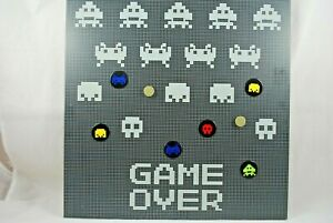Special Wall-Hanging MAGNETIC NOTICE BOARD w/ GAME OVER & Old Gaming Symbols VGC
