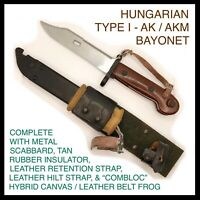 HUNGARIAN TYPE I 7.62 AK / AKM BAYONET COMPLETE W/ SCABBARD, CANVAS FROG, & MORE