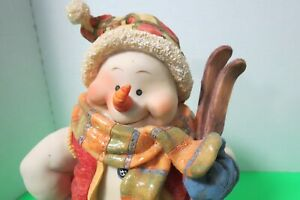 "Resin Skiing Snowman Figurine 12"" Tall 3D Winter Scene On Body Christmas Decor"