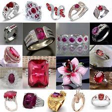 Women Fashion Jewelry 925 Silver Ruby Gem Wedding Engagement Bridal Ring Sz 5-11