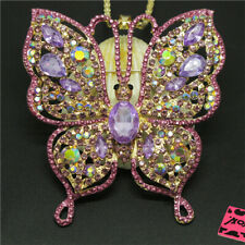 Hot Cute Bling Butterfly Purple Crystal Pendant Betsey Johnson China Necklace