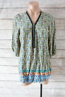 Freeze Top Sz Medium 10 12 Yellow Blue Green Tunic Smock Blouse