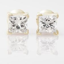 2ct Princess Cut Stud Earrings Square Screwback Solid 14k Real Yellow Gold Studs