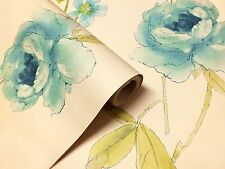 Water Colour Effect, Teal, Green & Cream Floral Design Wallpaper by Holden Decor
