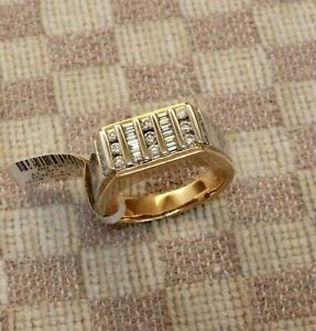 Channel Set Engagement & Wedding Men's Ring 1.6 Ct Diamond 14K Yellow Gold Over