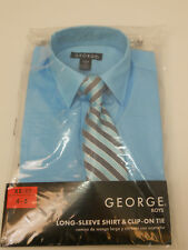 Boys Dress Shirt Clip on Tie SIZE XS 4-5 Solid Blue Collared Neck Long Sleeves