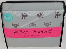 Betsey Johnson Queen Sheet Set Crossbones Embroidery Grey Authentic