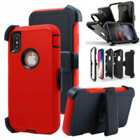 For iPhone 11 Pro Max/12/XR/XS Max Phone Case With Holster Clip Kickstand Cover