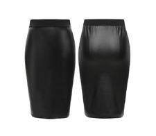 ladies pvc leather look womens stretch elastic waist bodycon pencil skirt WeTmdL