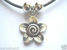 Flower shaped swirl design dark silver pendant black waxed cotton cord necklace