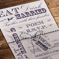 Personalised Handmade Day/Evening Wedding Invitations Vintage Fayre' *SAMPLE*