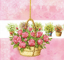 'Rose Basket' Greeting Card (Handcrafted Design with Free Options)