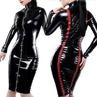 Women Sexy Wet Look Faux Leather Long Sleeve Zipper PVC Dress Clubwear Nightwear