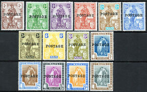 Malta 1926 KGV Postage Overprint complete set of 14 value to 10s Lightly Hinged