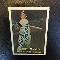 1957 Topps Mickey Mantle Signed Autographed RP Baseball Card With JSA COA