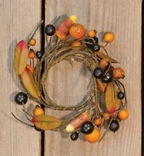 NEW!! Festive Autumn Country Farmhouse Orange Berries CANDY CORN Candle Ring