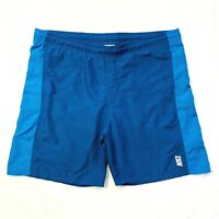 Vintage Nike Spell Out  Swim Trunks Board Shorts Mesh Lined Mens Large Blue EUC