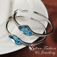 18K White Gold GP Made With Swarovski Crystal Aquamarine Medium Hoop Earrings