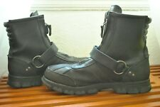 Men's Polo Ralph Lauren Conquest III Zip Up Strap Leather Boots Size 9.5 B Black