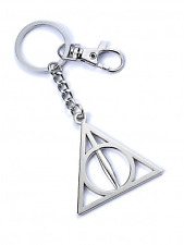 Official Harry Potter Silver Plated Deathly Hallows Keyring With Trigger Clip