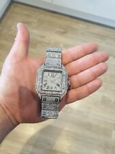 Mens Iced Out Diamond bling hip hop Square Santos Watch