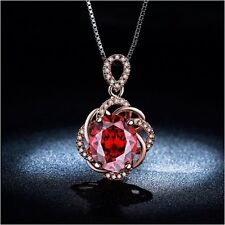 Rose gold plated necklace Vintage Red Ruby jewelry CZ Wedding