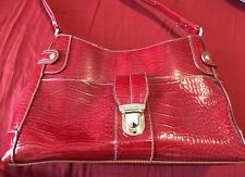 👛 Liz Claiborne Handbag Red Faux Croc Alligator Medium