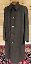 Vintage Burberry's Custom BROWN Wool Cusha Hand Woven Tweed Over Coat ENGLAND XL
