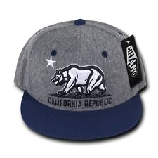 Gray Blue California Republic Cali Vintage Bear Star Flat Bill Snapback Cap Hat