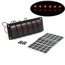 Red LED 6 GANG Switch Control Panel Rocker Waterproof Car Truck 4WD Accessories