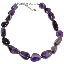 Semi precious amethyst gemstone irregular shape choker necklace jewellery