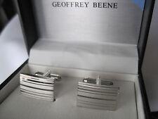 Geoffrey Beene Silver-Tone Striped and Mirrored Cufflinks, $35 Retail