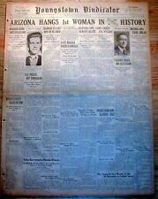 1930 headline newspaper Execution ARIZONA HANGS the 1st WOMAN in its HISTORY