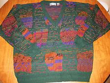 CITY STREETS V-neck sweater XL retro Cosby 1980s earth-tones Digital Autumn