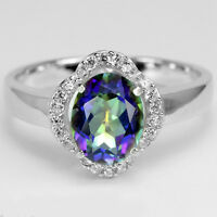 Sterling silver 925 Sparkling Rainbow Blue Mystic Topaz Ring Size R.5 (US 9)
