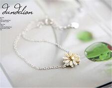 Silver tone white daisy / dandelion flower chain bracelet 50s retro