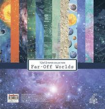 Scrapbooking Papierset Far-Off Worlds 8 Blatt Papier 30,48 x30,48 cm blau