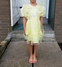 Vtg 80s Party Dress Ruffles Embroidery Tulle Yellow Flowers Ribbons Sequins