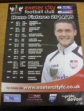 2014/2015 Exeter City: Home Fixtures Advertising Poster (folded). Thanks for vie