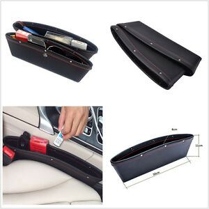 A Pair Black PU Leather Car Seat Catcher Box Caddy Gap Slit Organizer Kit