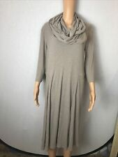 Signature By Robbie Bee Taupe W/ Scarf Women's Rib-Knit Flared Dress 2X.      11