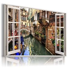 ITALY VENICE ARCHITECTURE 3D Window View Canvas Wall Art Picture W335 MATAGA .