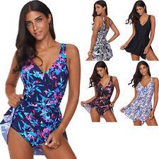 Swimdress swimming pool summer one piece swimwear with skirt padded solid women