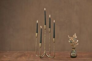 Antique Brass Cluster Candelabra, 5 Candle Stick Holder, Gold Nkuku Mbata, Small