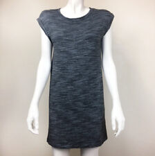 Womens Cloth & Stone Small Gray Jersey Tunic Dress Black Heathered Print S Stret