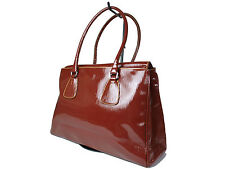 PRADA Patent Leather Brown Shoulder Bag PS0098